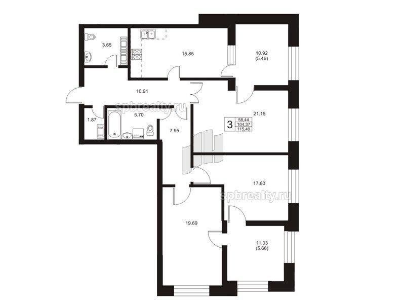 Планировка Трёхкомнатная квартира площадью 103.9 кв.м в ЖК «Риверсайд (Riverside)»