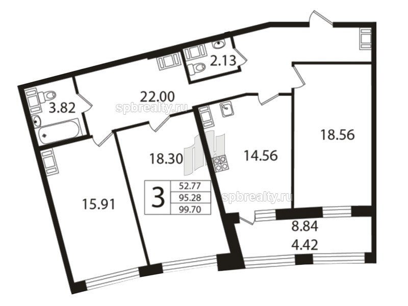 Планировка Трёхкомнатная квартира площадью 94.9 кв.м в ЖК «Риверсайд (Riverside)»