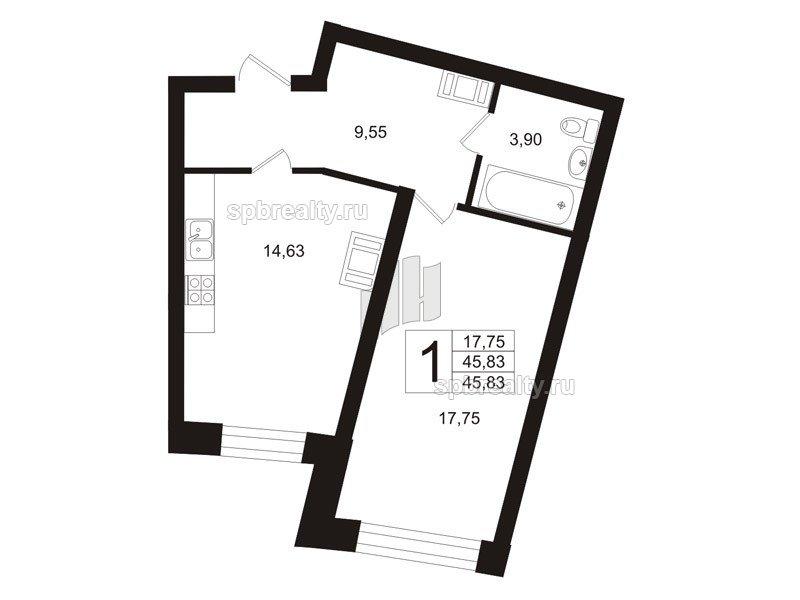 Планировка Однокомнатная квартира площадью 46.1 кв.м в ЖК «Риверсайд (Riverside)»