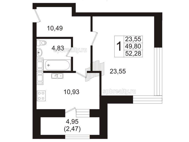 Планировка Однокомнатная квартира площадью 49.4 кв.м в ЖК «Риверсайд (Riverside)»