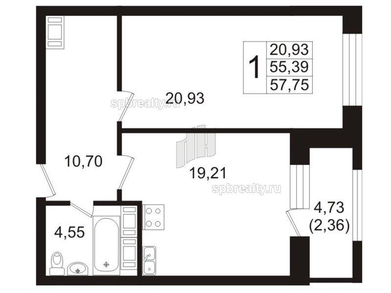 Планировка Однокомнатная квартира площадью 55.2 кв.м в ЖК «Риверсайд (Riverside)»