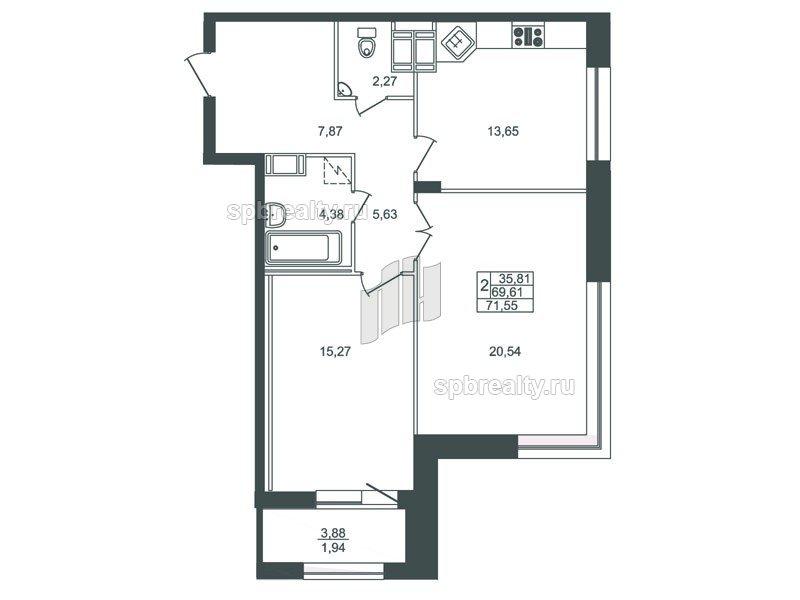 Планировка Двухкомнатная квартира площадью 69.3 кв.м в ЖК «Риверсайд (Riverside)»