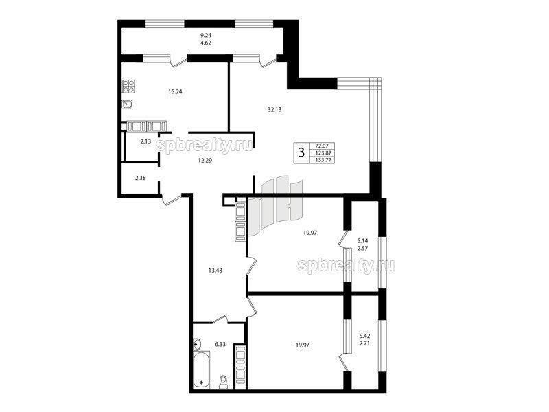 Планировка Трёхкомнатная квартира площадью 123.9 кв.м в ЖК «Риверсайд (Riverside)»