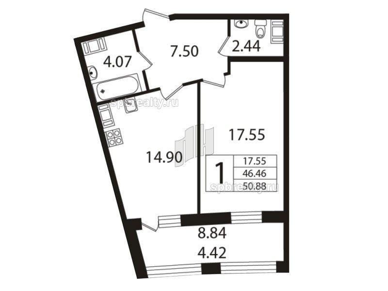 Планировка Однокомнатная квартира площадью 45.5 кв.м в ЖК «Риверсайд (Riverside)»
