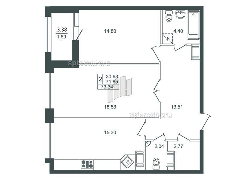 Планировка Двухкомнатная квартира площадью 70.9 кв.м в ЖК «Риверсайд (Riverside)»