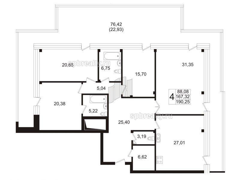 Планировка Четырёхкомнатная квартира площадью 168.4 кв.м в ЖК «Риверсайд (Riverside)»