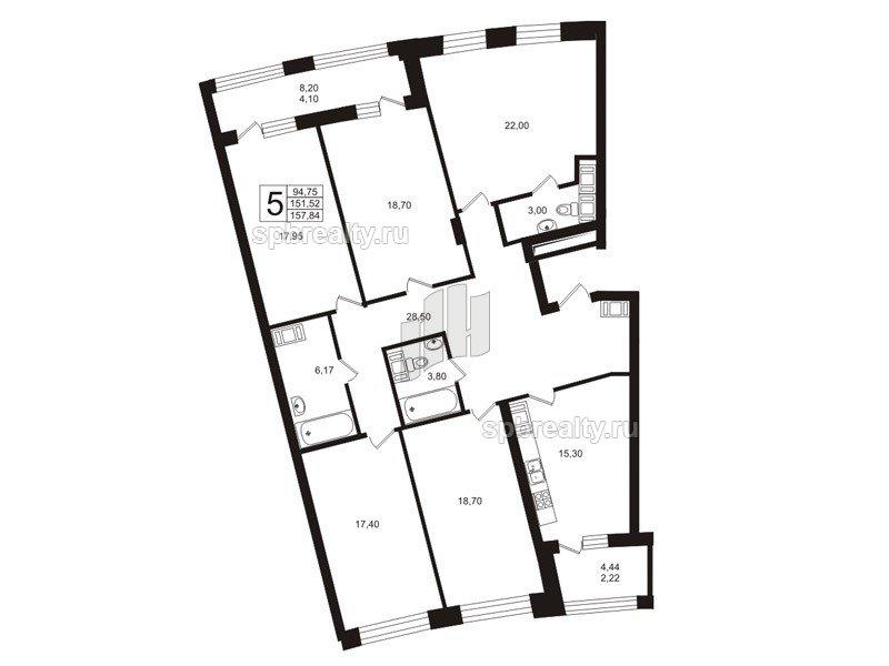 Планировка Пятикомнатная квартира площадью 149.6 кв.м в ЖК «Риверсайд (Riverside)»