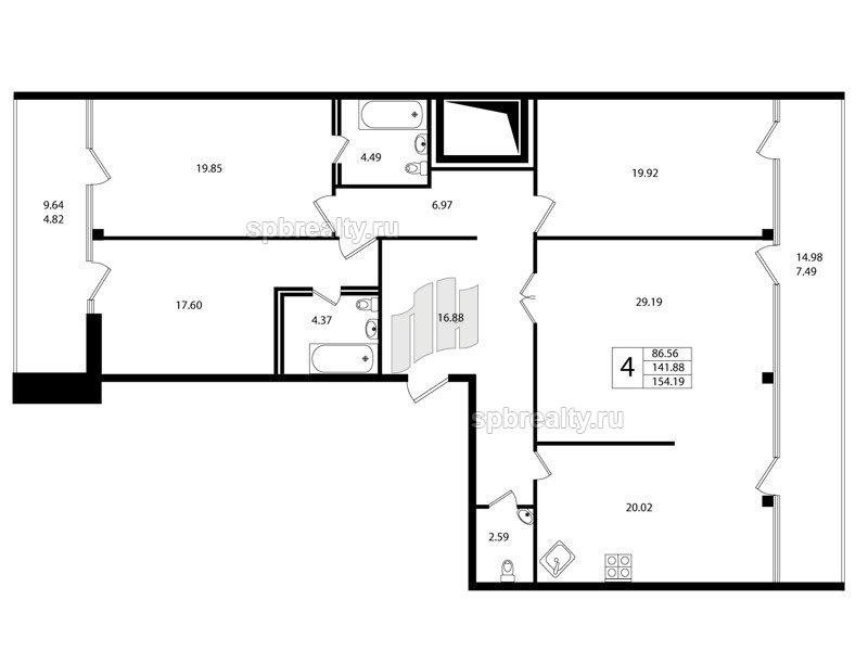 Планировка Четырёхкомнатная квартира площадью 140.9 кв.м в ЖК «Риверсайд (Riverside)»