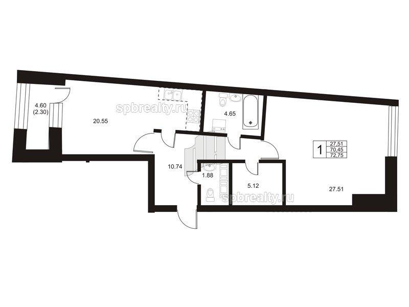 Планировка Однокомнатная квартира площадью 69.8 кв.м в ЖК «Риверсайд (Riverside)»