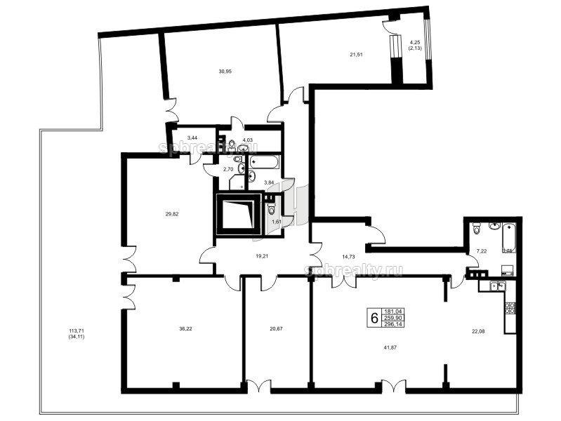 Планировка Шестикомнатные квартиры площадью 257.6 кв.м в ЖК «Риверсайд (Riverside)»