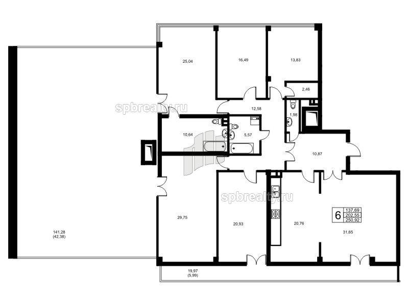Планировка Шестикомнатные квартиры площадью 200.9 кв.м в ЖК «Риверсайд (Riverside)»