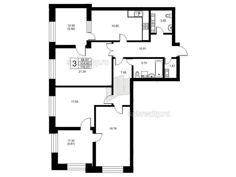 Планировка Трёхкомнатная квартира площадью 104.9 кв.м в ЖК «Риверсайд (Riverside)»